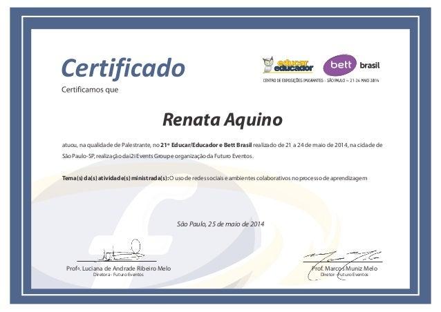 Certificado Palestrante Bett Redes Sociais