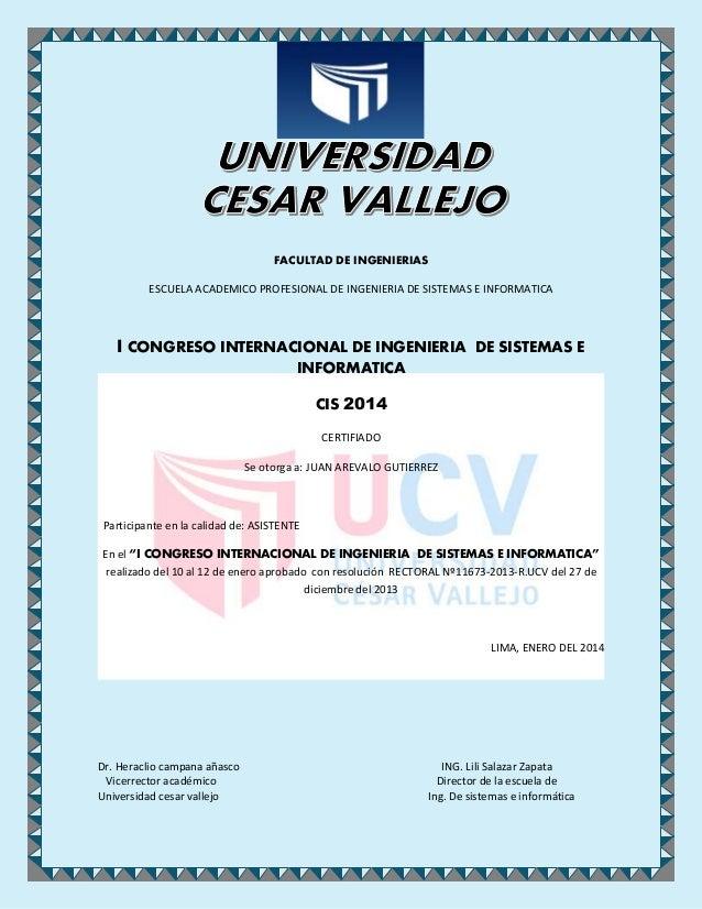 FACULTAD DE INGENIERIAS ESCUELA ACADEMICO PROFESIONAL DE INGENIERIA DE SISTEMAS E INFORMATICA I CONGRESO INTERNACIONAL DE ...