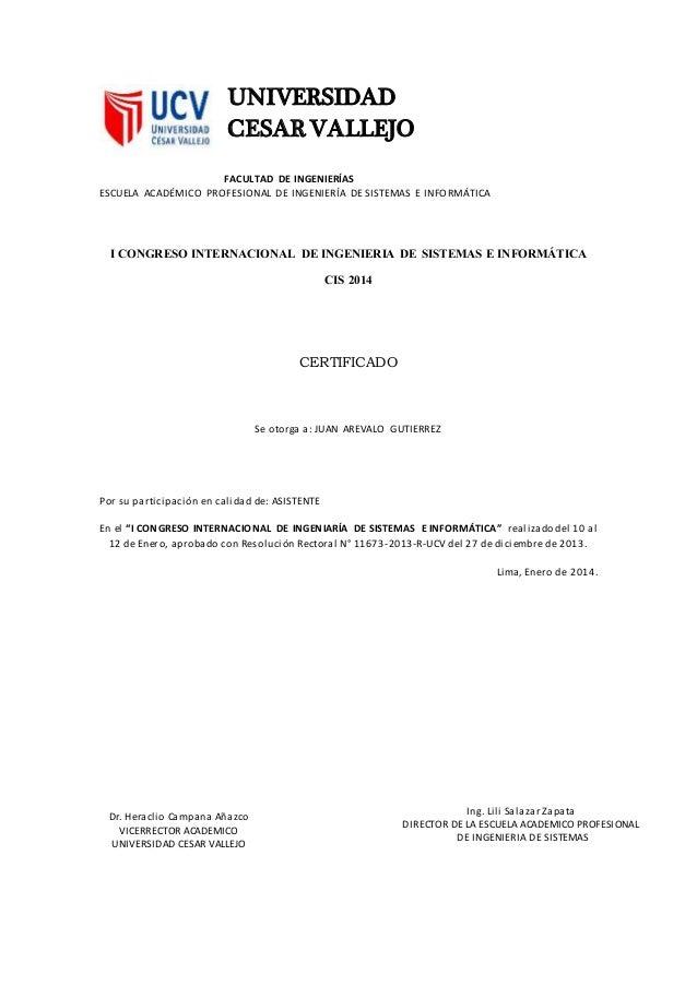 Ing. Lili Salazar Zapata DIRECTOR DE LA ESCUELA ACADEMICO PROFESIONAL DE INGENIERIA DE SISTEMAS UNIVERSIDAD CESAR VALLEJO ...