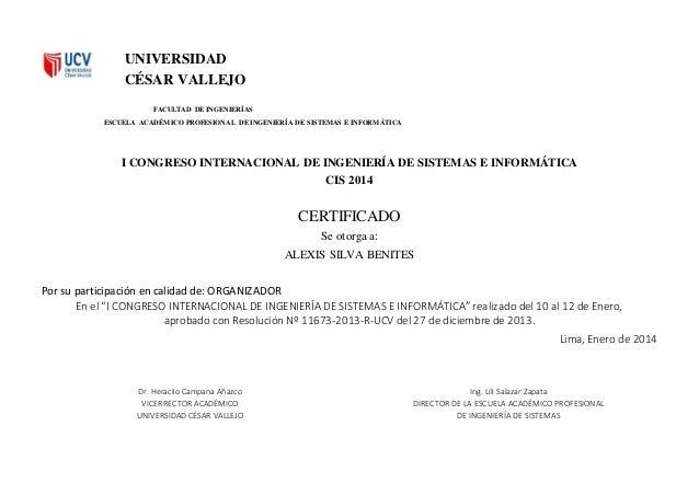 UNIVERSIDAD CÉSAR VALLEJO FACULTAD DE INGENIERÍAS ESCUELA ACADÉMICO PROFESIONAL DE INGENIERÍA DE SISTEMAS E INFORMÁTICA I ...