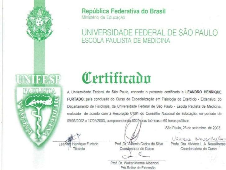 Certificado pós graduação fisiologia do exercício