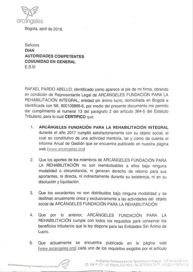 Certificado representante legal Arcángeles