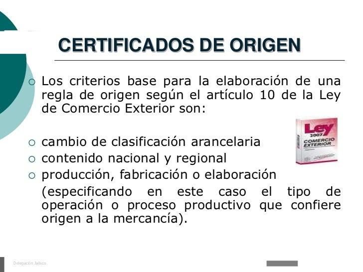 Certificados de origen en mexico for Significado de exterior