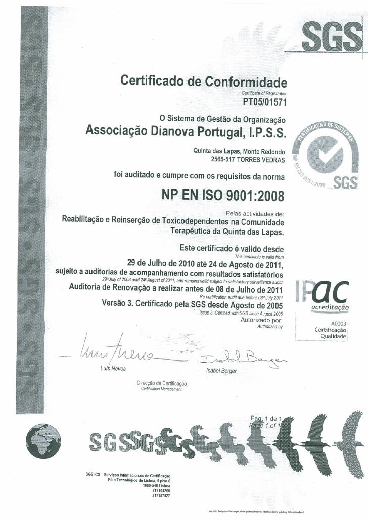 Certificado SGS Sistema Gestao Qualidade 2010 Dianova Portugal