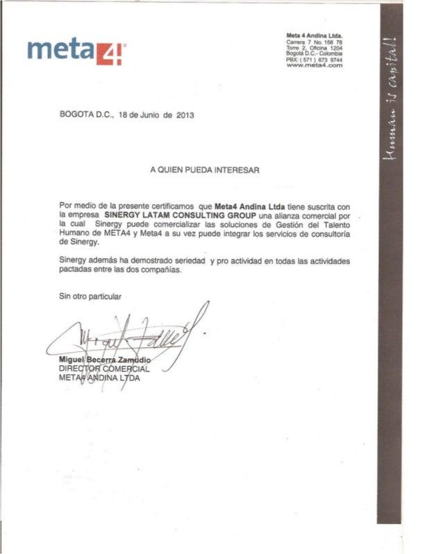 Certificado Alianza Sinergy Latam Consulting Group & Meta 4