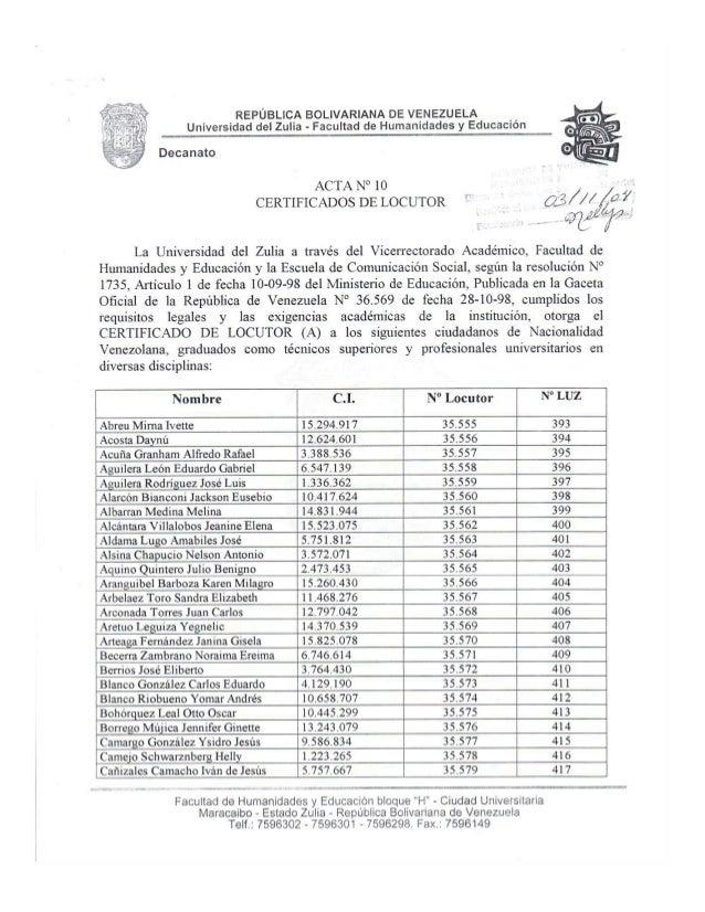 Decanato     requisitos legales y  REPÚBLICA BOLIVARIANA DE VENEZUELA U Universidad del Zulia - Facultad de Humanidades y ...