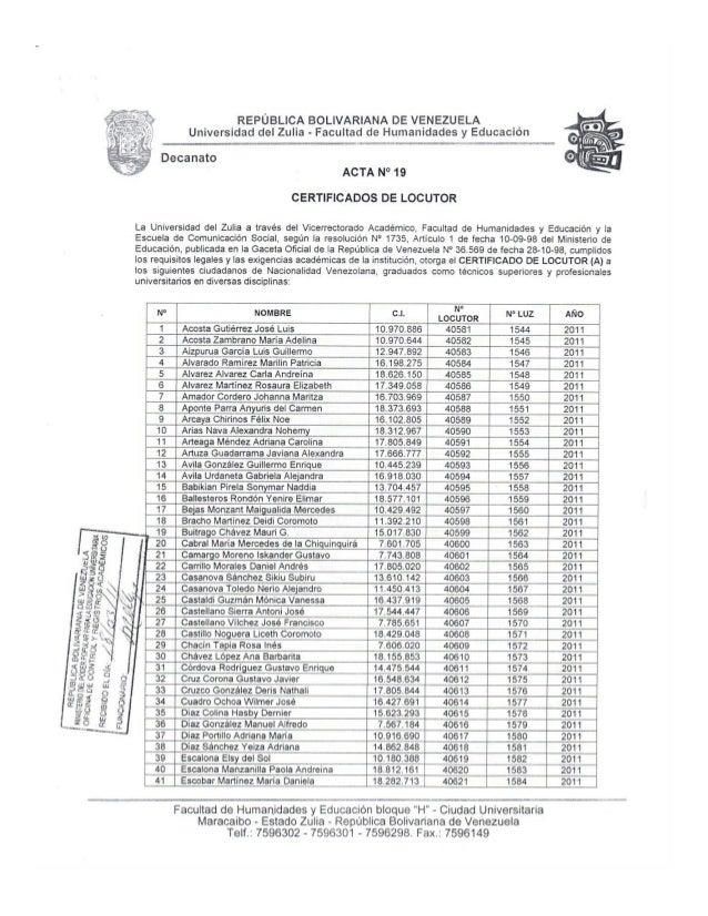 Certificados Locutor Acta 19