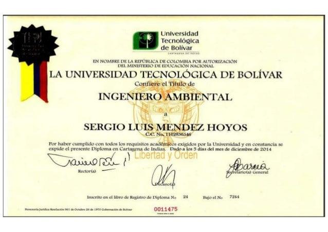 Certificados Ingeniero Ambiental Sergio Mendez Hoyos Slide 3