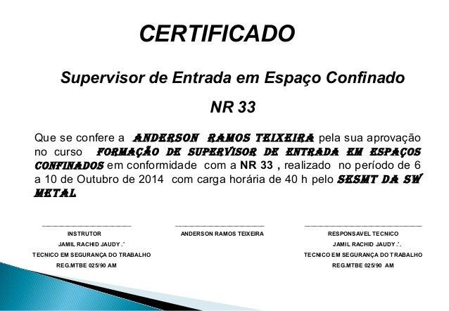 Certificado Treinamento Espaço Confinado 1 Jamil
