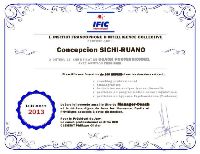 L'INSTITUT FRANCOPHONE D'INTELLIGENCE COLLECTIVE C ERTIF IE QUE :  Concepcion SICHI-RUANO A OBTEN U LE C ERTIF IC A T DE C...