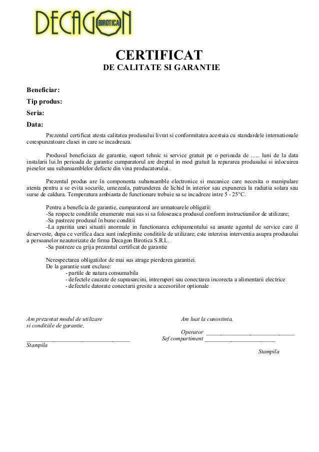 certificat de garantie model