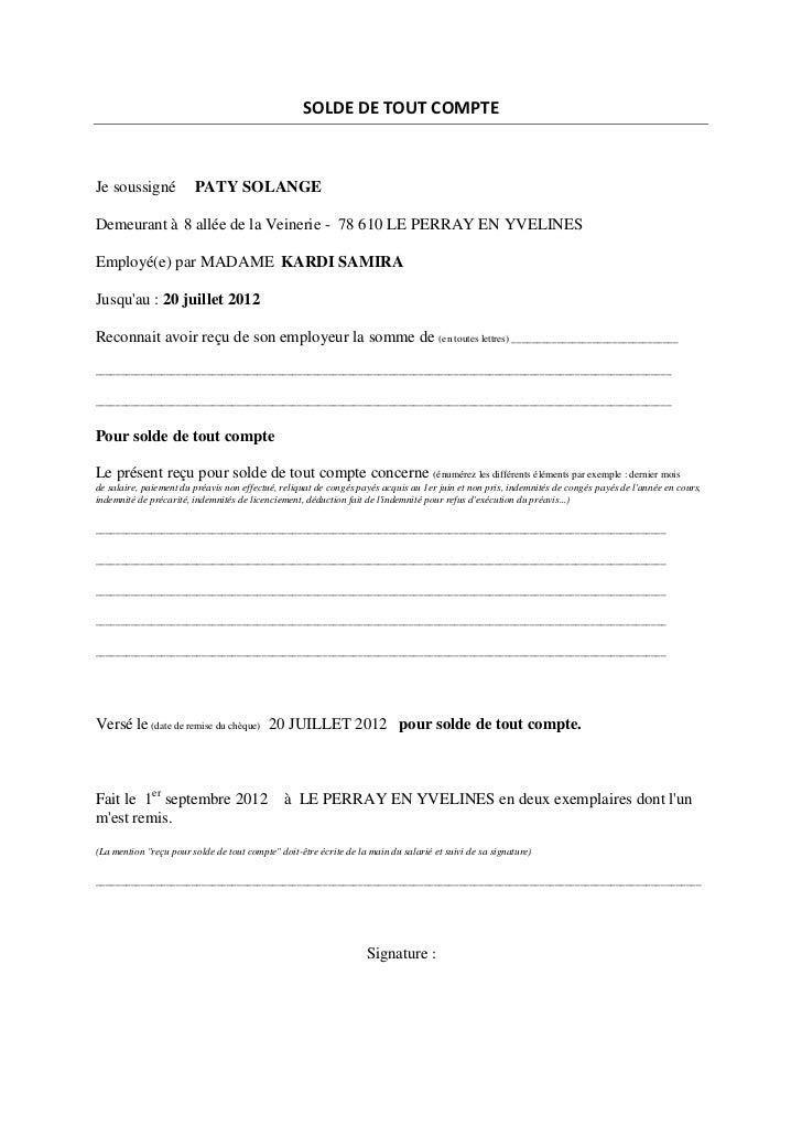 Modele Attestation De Travail Solde De Tout Compte Document Online