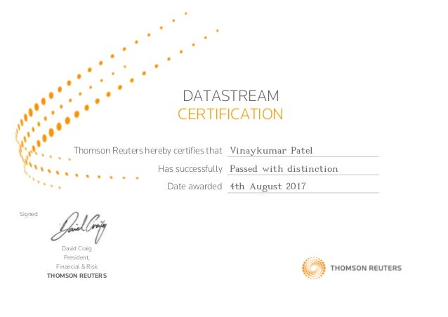 Thomson Reuters Datastream Certification