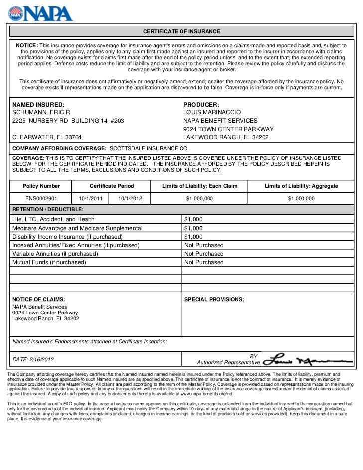 E & O Certificate 2012