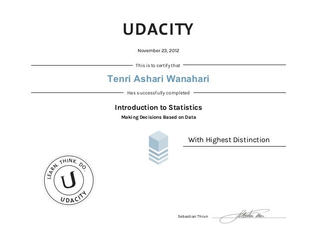 Udacity Certificate: Introduction of Statistics