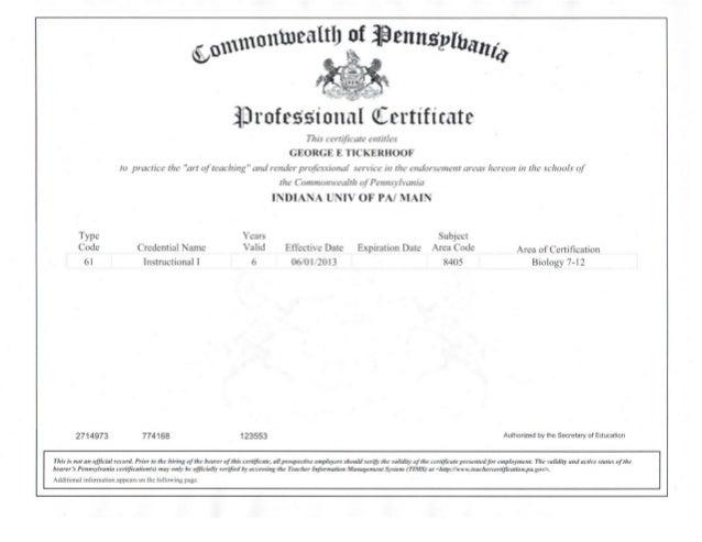 Pennsylvania Teaching Certificate
