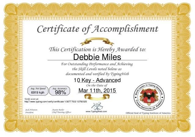 Certificate For 10 Key Data Entry