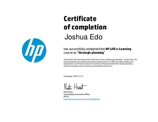 Certificates from HP E-Learning Program