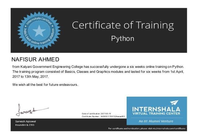 Certificate Of Training Python