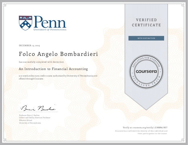 Verified Certificate: An Introduction To Financial Accounting