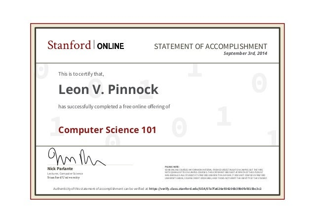 certificate cs101