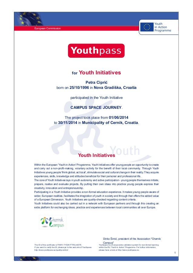 Youthpass certifikat youthpass certifikat european commission 1 for youth initiatives petra cipri born on 25101996 in yadclub Image collections