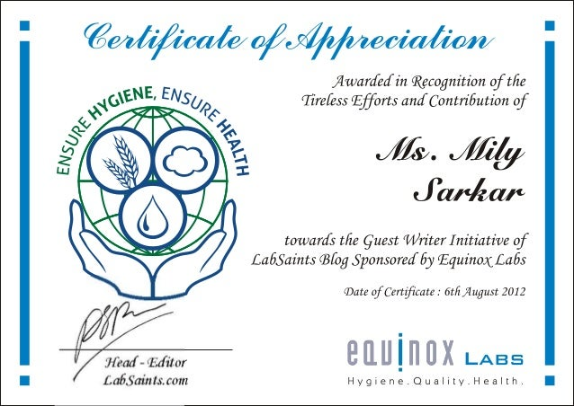 Certificate of Appreciation - Labsaints - Mili Sarkar