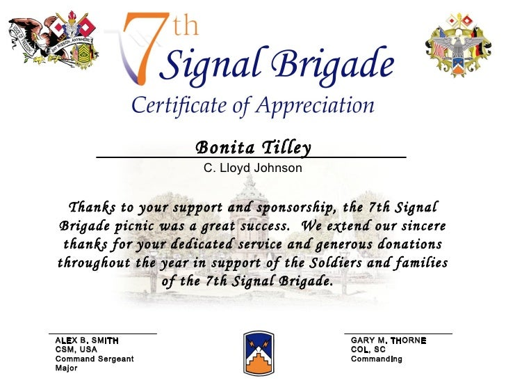 Certificate of appreciation picnic certificate of appreciation picnic thanks to your support and sponsorship the 7th signal brigade picnic was a great success yelopaper Images