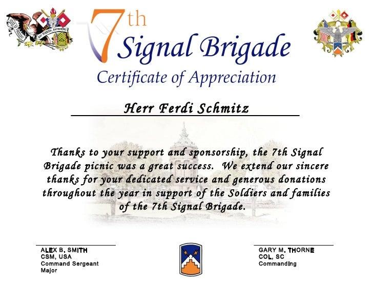Certificate Of Appreciation Picnic
