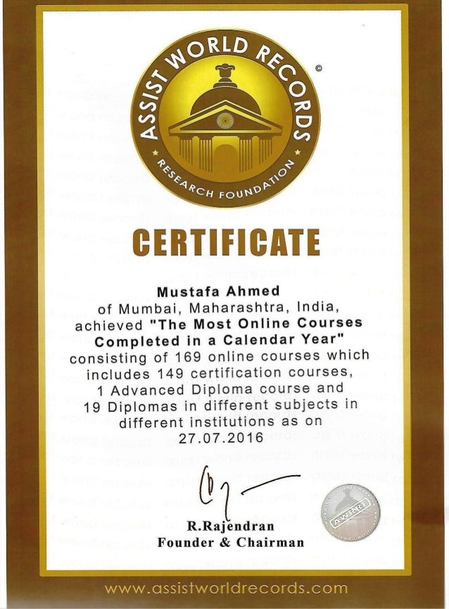 THE MOST ONINE COURSES COMPLETED IN A CALENDER YEAR