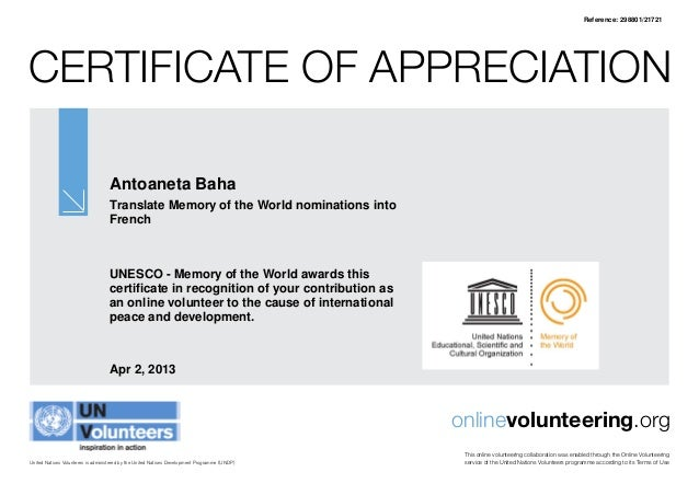 Unesco certificate of recognition reference 29880121721certificate of appreciation yadclub Images