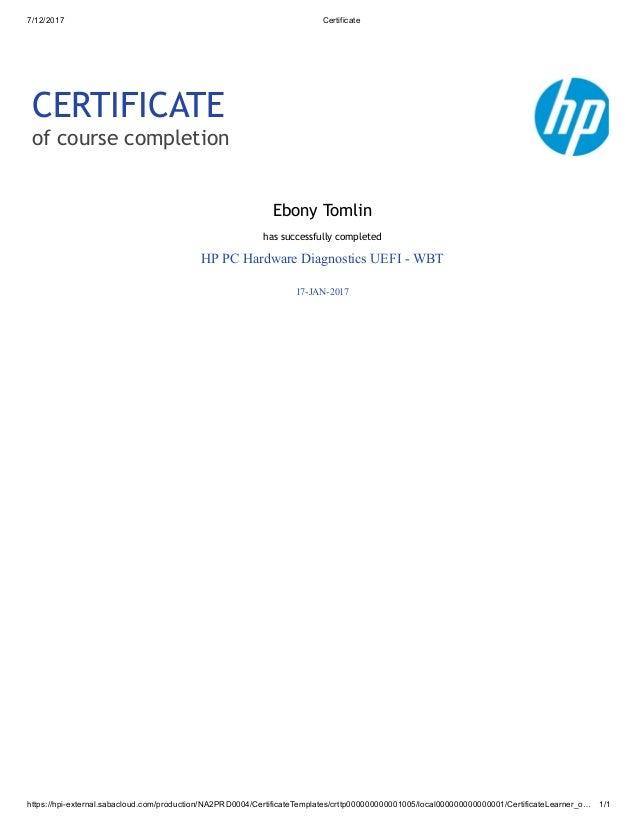 Certificate HP PC Hardware Diagnostics UEFI- WBT
