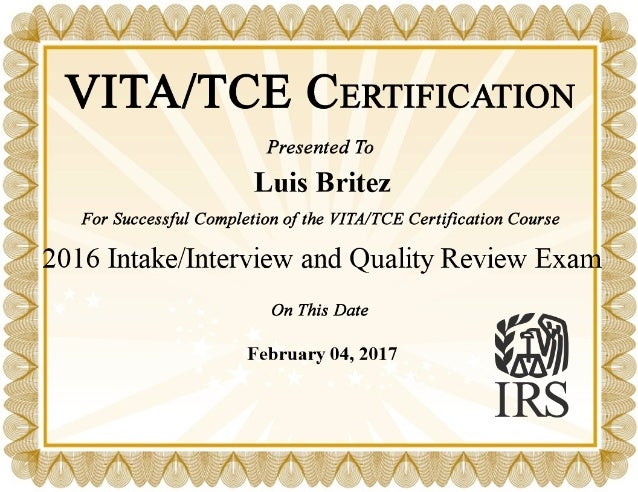 Vita Tce Certification 2016 Intake Interview And Quality Review Exam