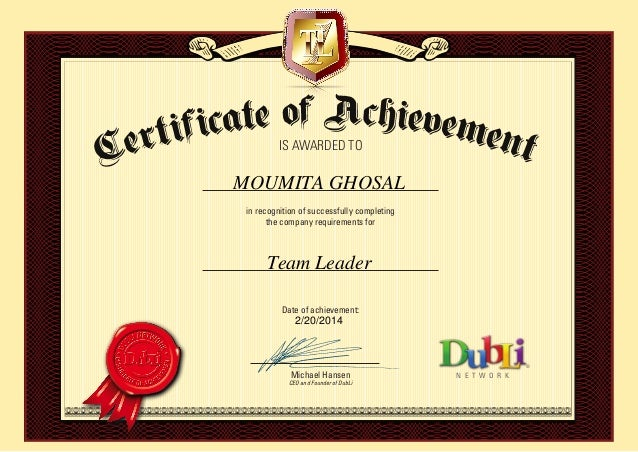 Certificate of Leadership from DUBLI
