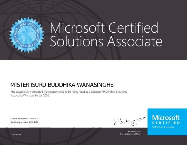 Mcsa Windows Server 2016 Certificate