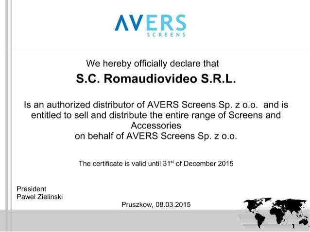 Avers screens distributor certificate romaudiovideo srl altavistaventures Choice Image