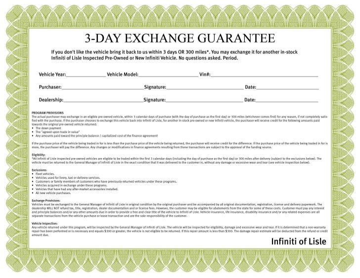 Certificate for 3 day pre owned exchange from Infiniti of Lisle