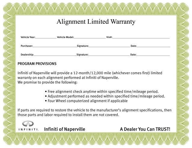 Infiniti Alignment Warranty Certificate