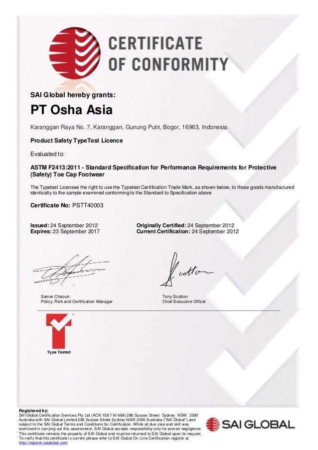 Certificate Astm F 24132011