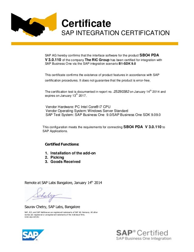 SAP Business One Integration Certificate
