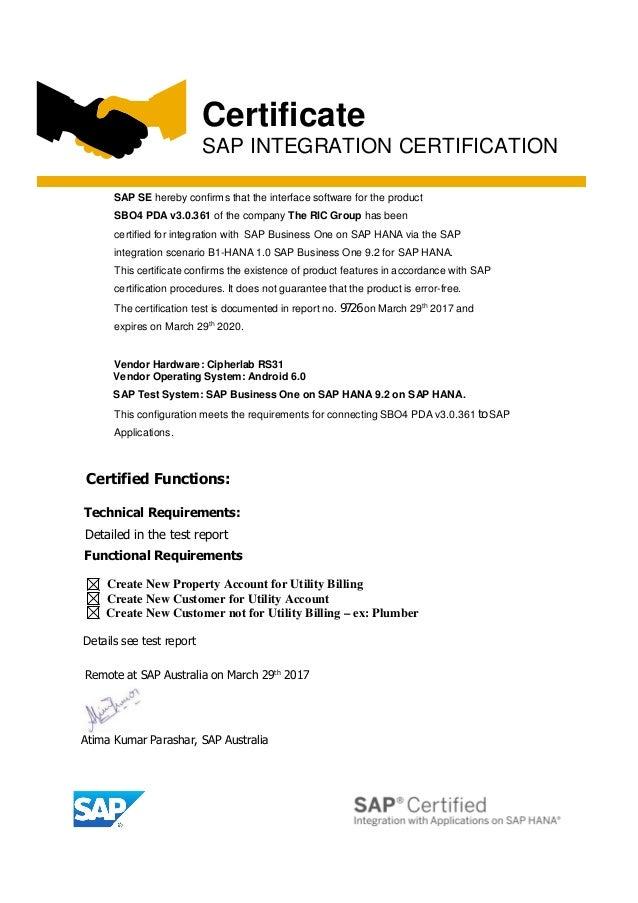 Sbo4 Pda Certified For Sap Business One Hana