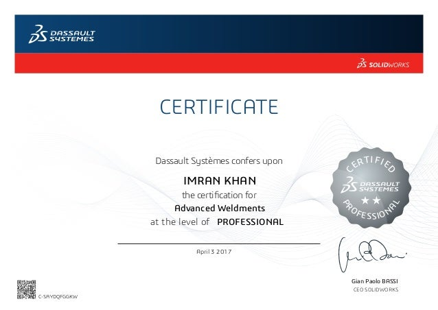 Certified Solidworks Professional Advanced Weldments