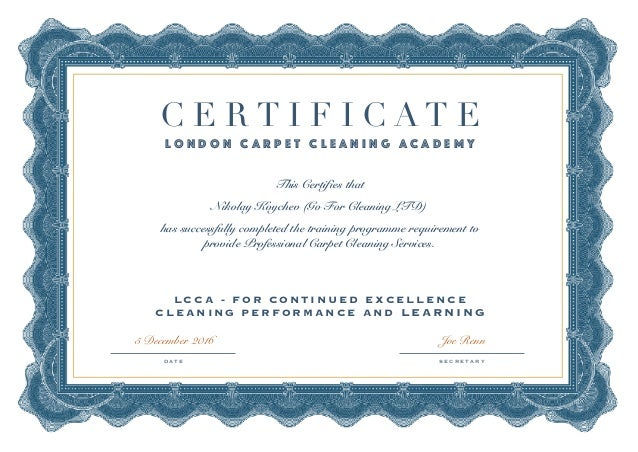 Certificate Carpet Cleaners