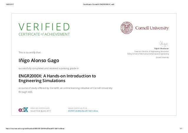 Certificate Cornell University - cornell x engr2000x - edx