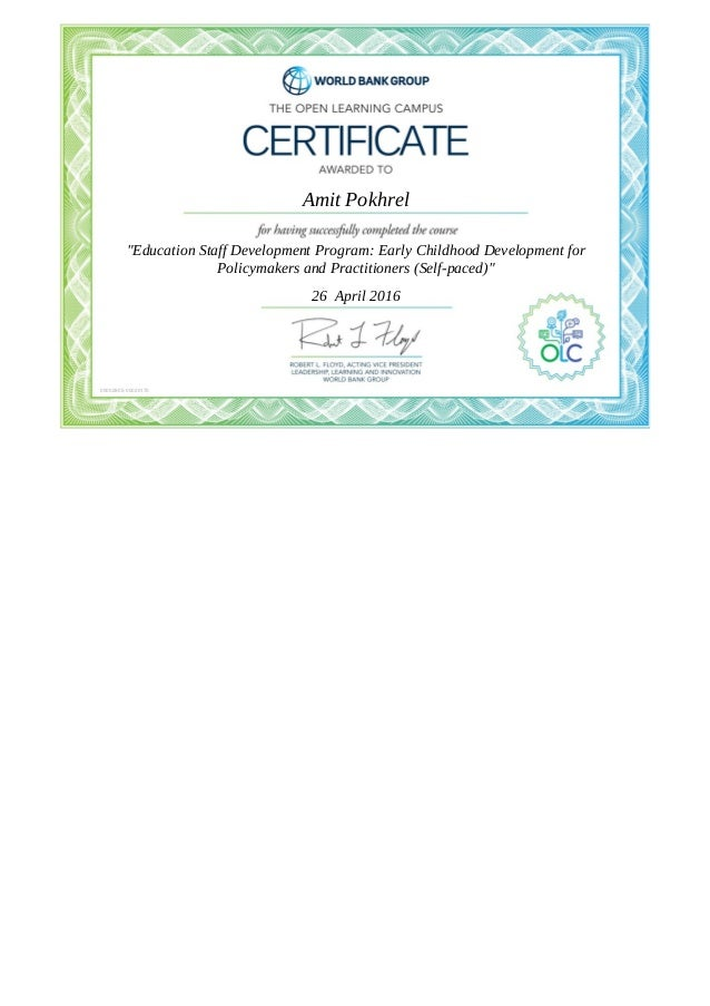 Certificate Educating Staff Development Program Early Childhood Devel