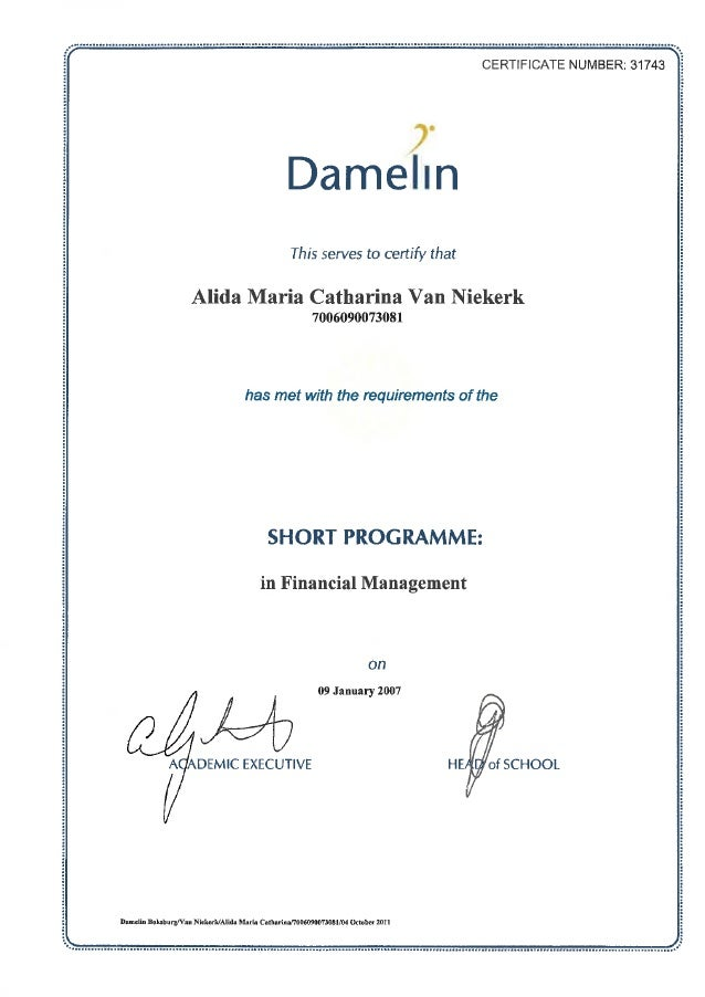 Certificate financial management