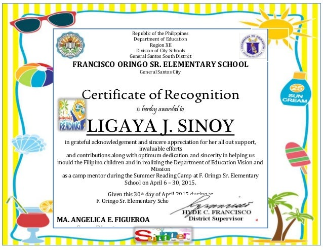 Certificate fo appreciation certificate fo appreciation republic of the philippines department of education region xii division of city schools general santos south yadclub Image collections