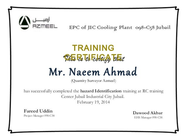 Certificate format samples certificate format samples this is to certify that mr naeem ahmad quantity surveyor azmeel has successfully yadclub