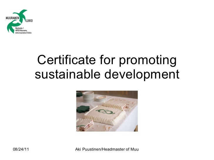 Certificate for promoting sustainable development
