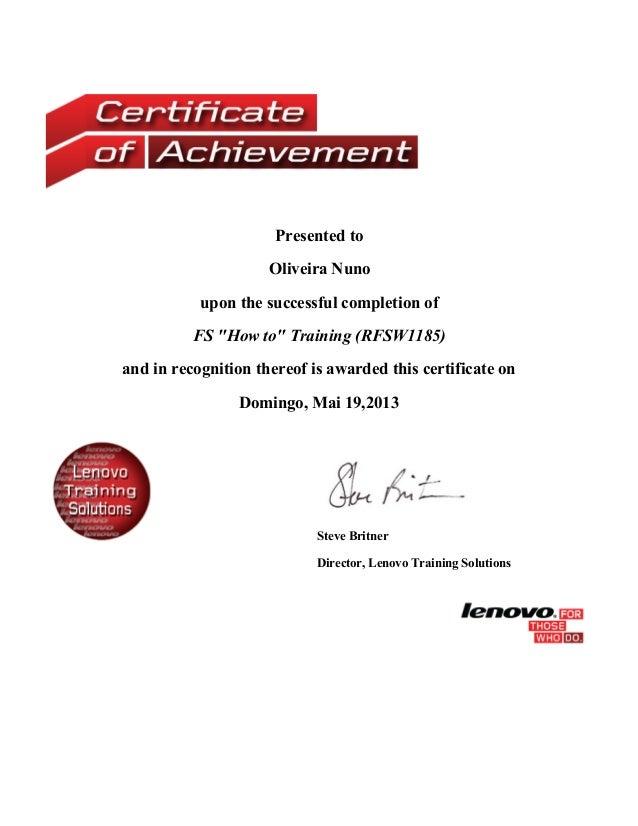 Certificate Fs How To Training Rfsw1185
